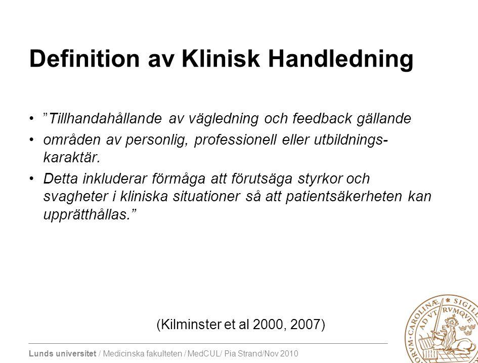 Definition av Klinisk Handledning