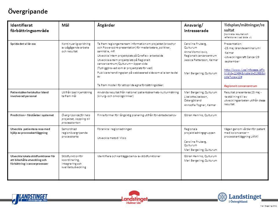 Övergripande Identifierat förbättringsområde Mål Åtgärder Ansvarig/
