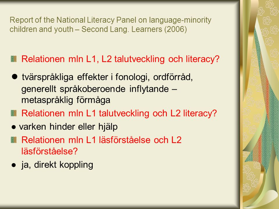 Report of the National Literacy Panel on language-minority children and youth – Second Lang. Learners (2006)
