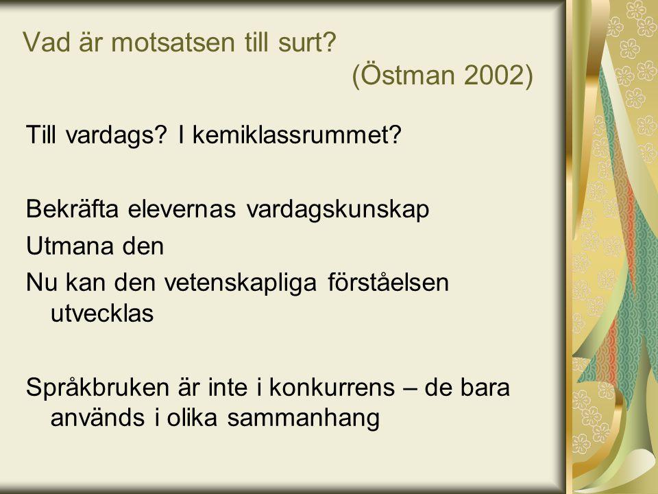 Vad är motsatsen till surt (Östman 2002)