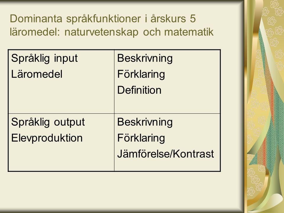 Dominanta språkfunktioner i årskurs 5 läromedel: naturvetenskap och matematik