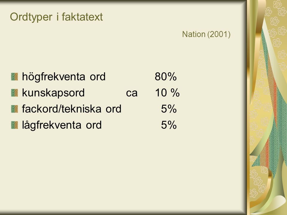Ordtyper i faktatext Nation (2001)