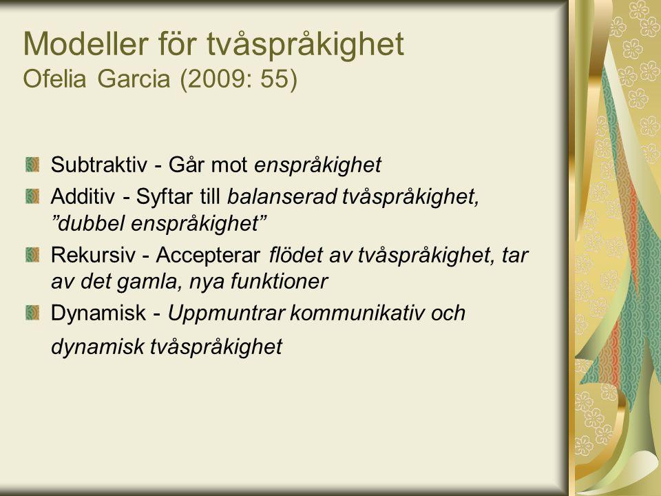 Modeller för tvåspråkighet Ofelia Garcia (2009: 55)