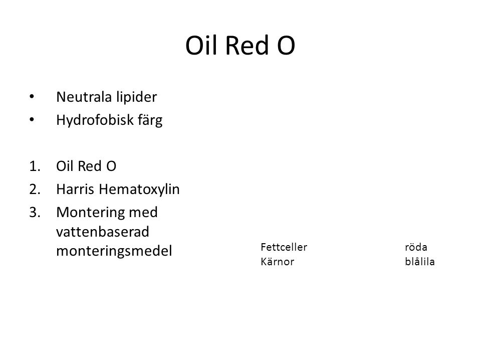 Oil Red O Neutrala lipider Hydrofobisk färg Oil Red O
