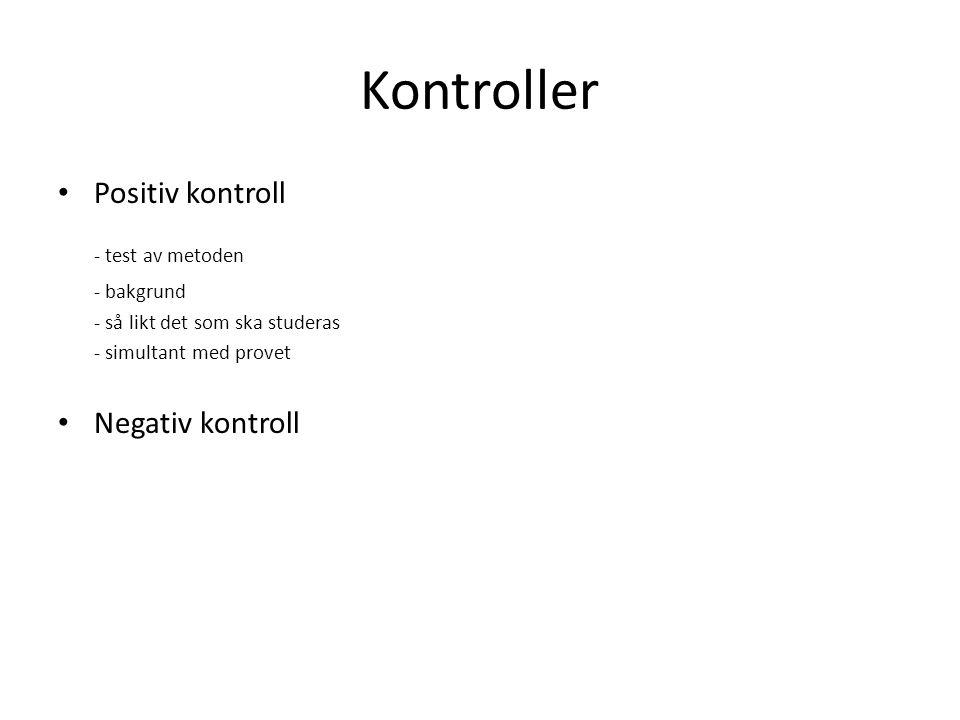 Kontroller - test av metoden Positiv kontroll Negativ kontroll