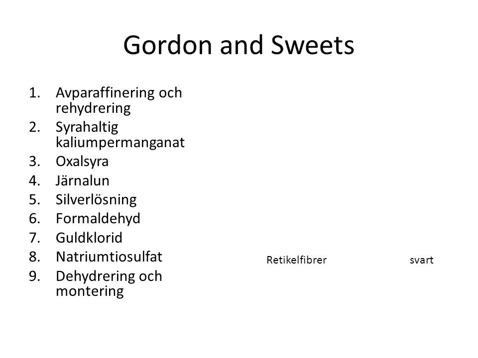 Gordon and Sweets Avparaffinering och rehydrering