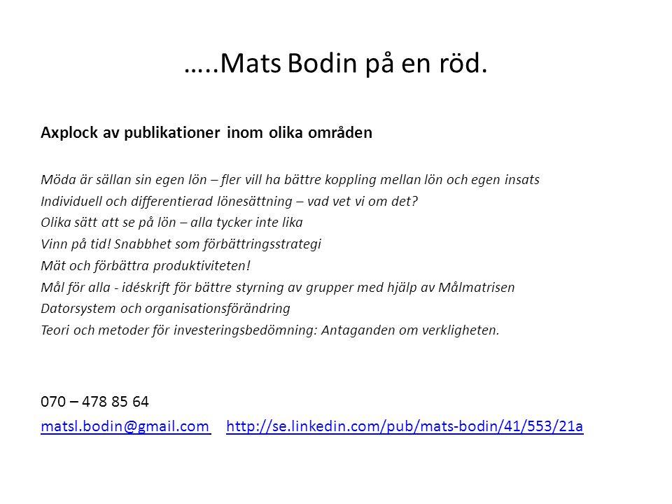 …..Mats Bodin på en röd. Axplock av publikationer inom olika områden