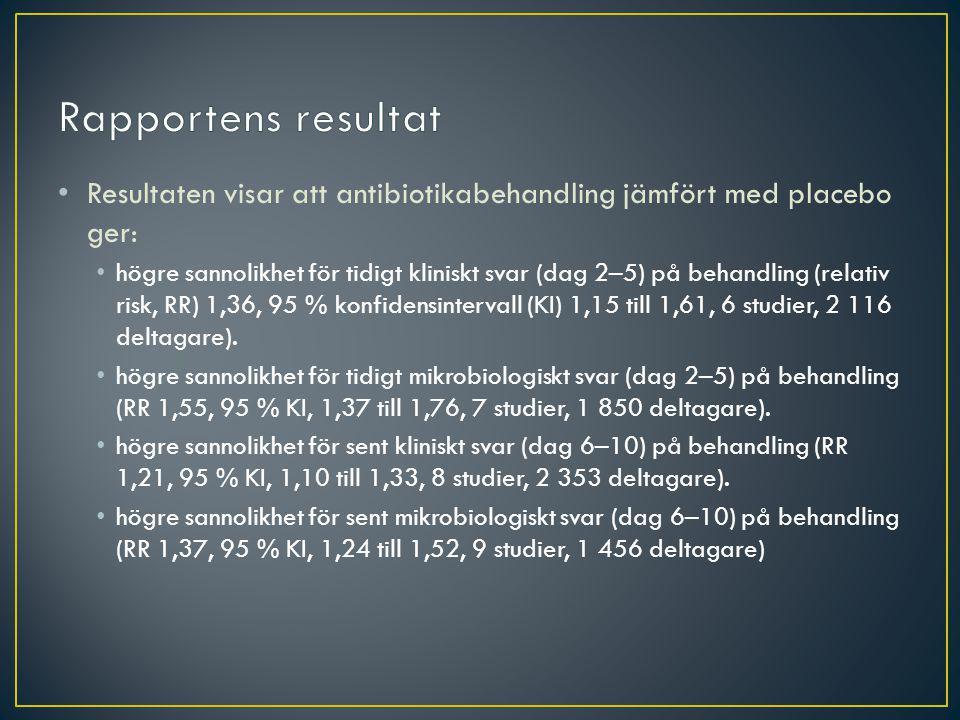 Rapportens resultat Resultaten visar att antibiotikabehandling jämfört med placebo ger: