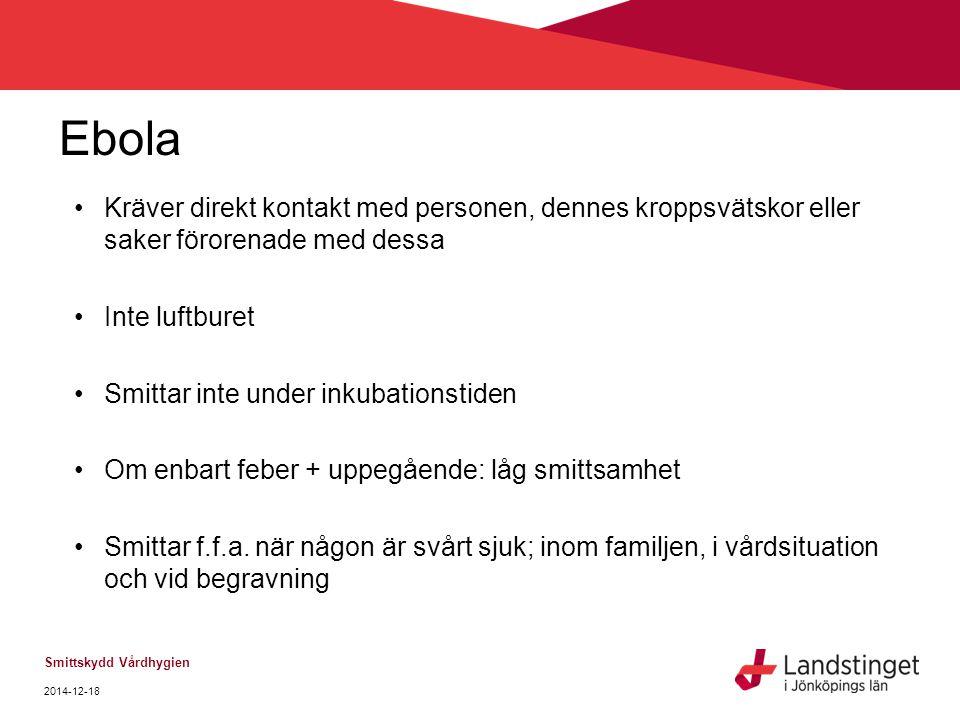 Ebola Kräver direkt kontakt med personen, dennes kroppsvätskor eller saker förorenade med dessa. Inte luftburet.