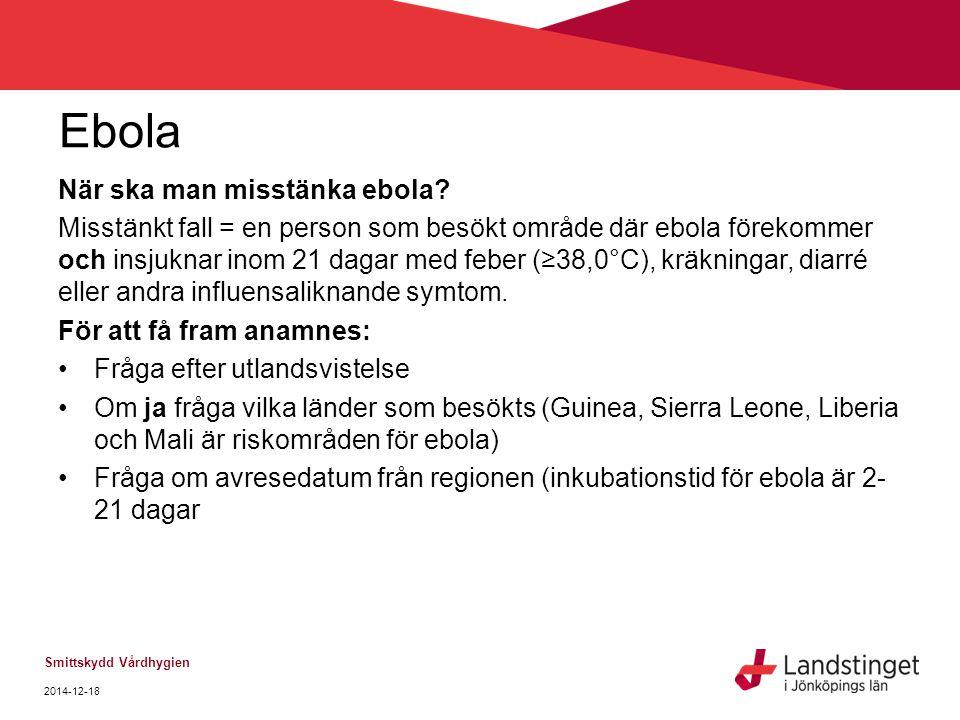 Ebola När ska man misstänka ebola