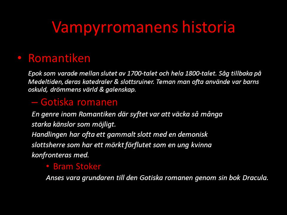 Vampyrromanens historia