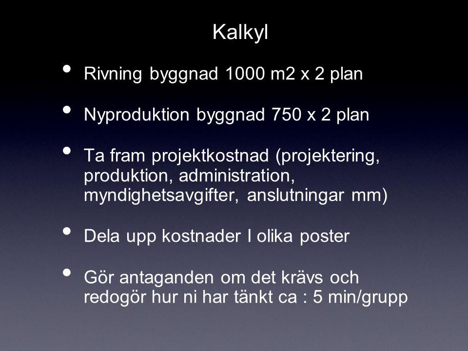 Kalkyl Rivning byggnad 1000 m2 x 2 plan