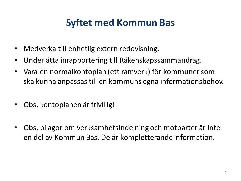 Syftet med Kommun Bas Medverka till enhetlig extern redovisning.