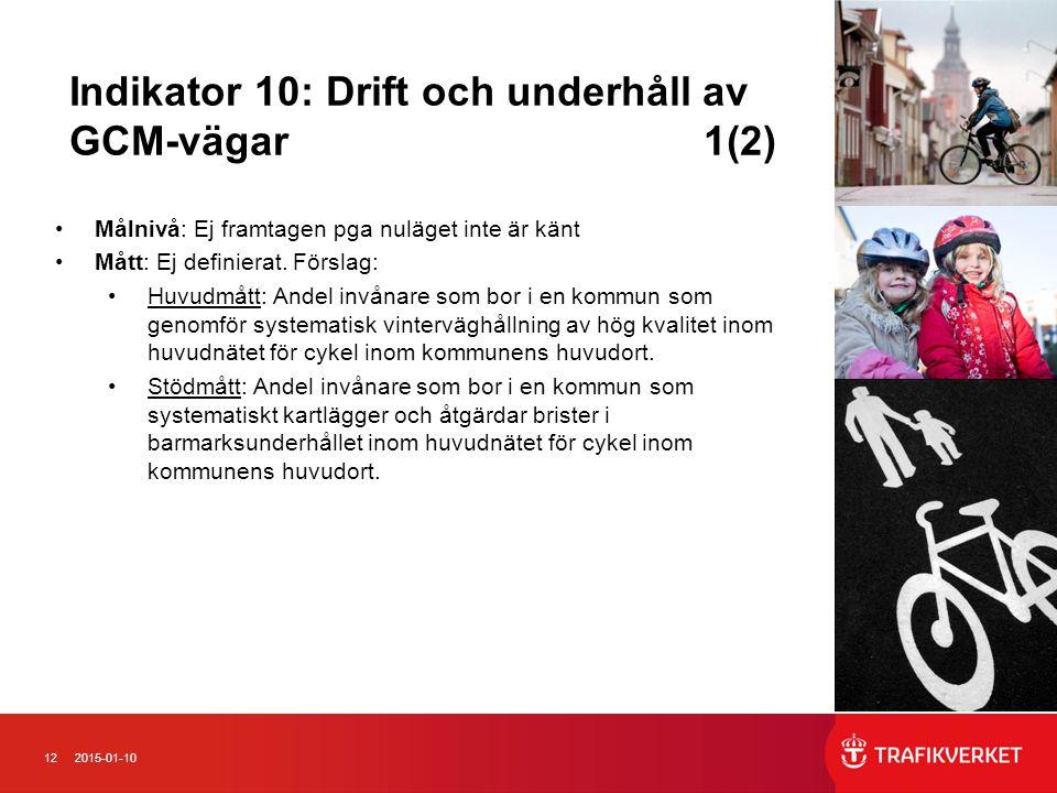 Indikator 10: Drift och underhåll av GCM-vägar 1(2)