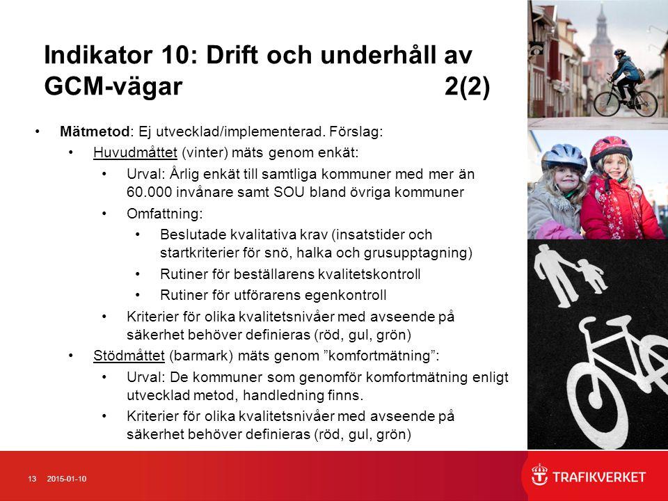 Indikator 10: Drift och underhåll av GCM-vägar 2(2)
