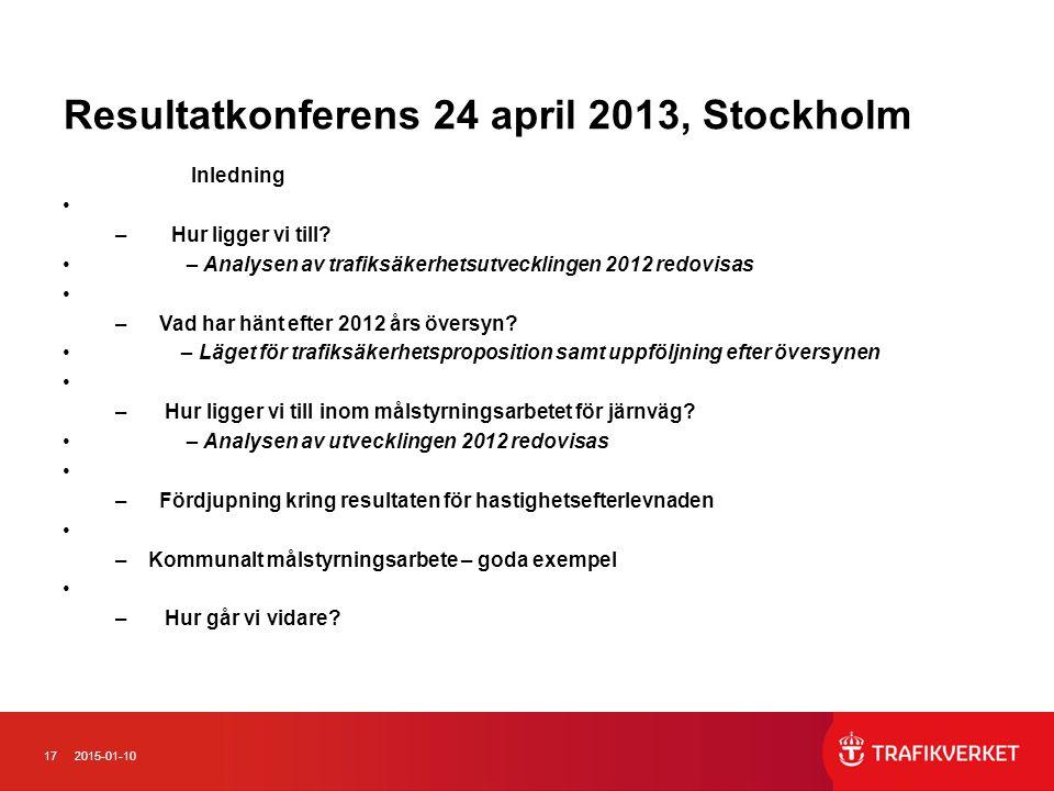 Resultatkonferens 24 april 2013, Stockholm