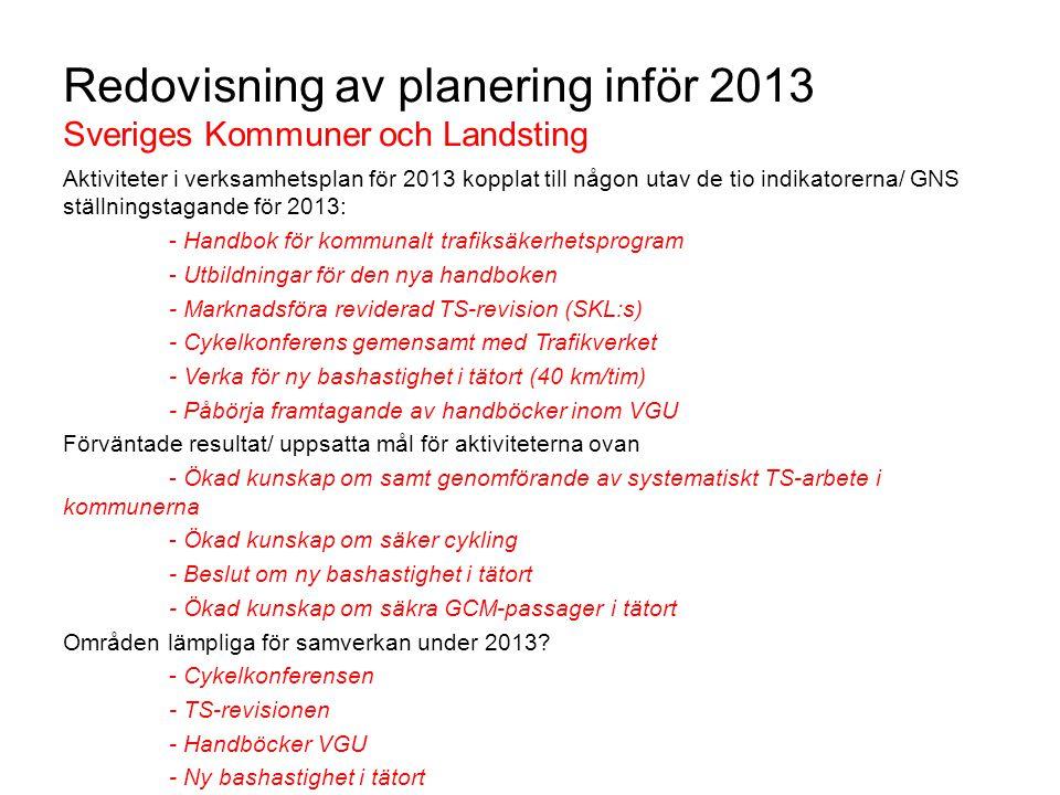 Redovisning av planering inför 2013