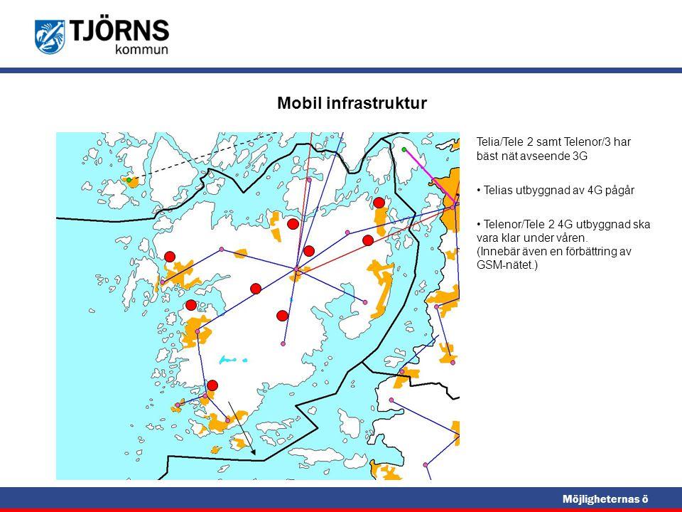 Mobil infrastruktur Telia/Tele 2 samt Telenor/3 har bäst nät avseende 3G. Telias utbyggnad av 4G pågår.