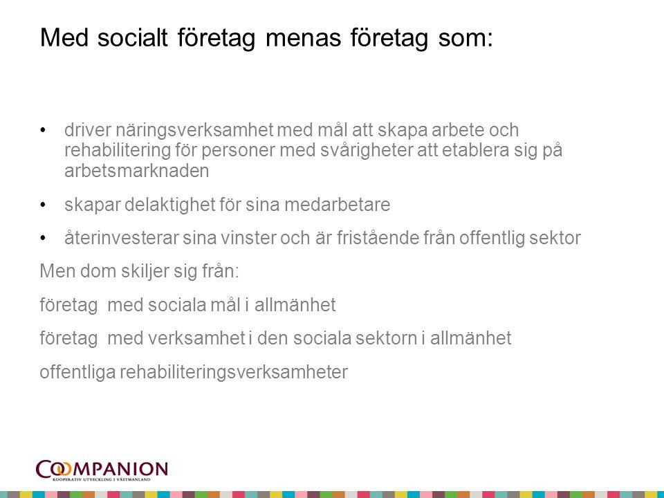 Med socialt företag menas företag som: