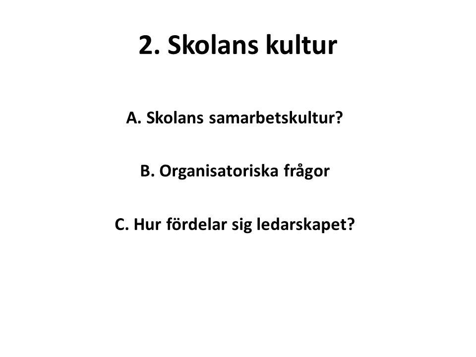 2. Skolans kultur A. Skolans samarbetskultur. B.