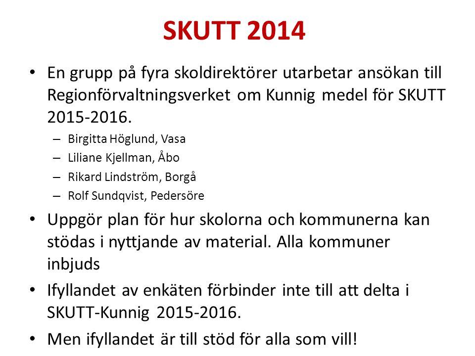 SKUTT 2014 En grupp på fyra skoldirektörer utarbetar ansökan till Regionförvaltningsverket om Kunnig medel för SKUTT 2015-2016.