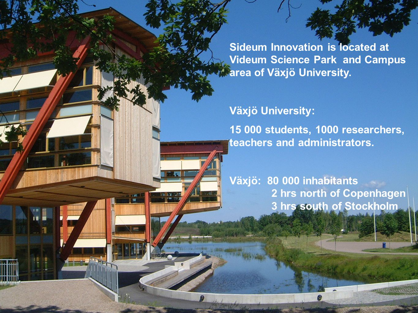 Sideum Innovation is located at Videum Science Park and Campus area of Växjö University.