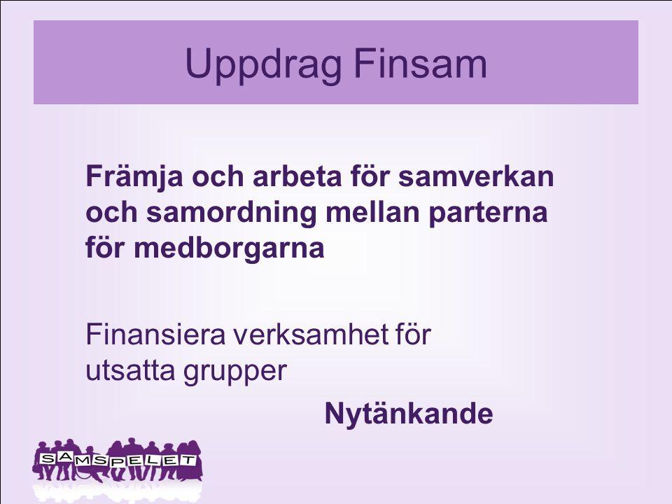 Uppdrag Finsam Främja och arbeta för samverkan och samordning mellan parterna för medborgarna. Finansiera verksamhet för utsatta grupper.