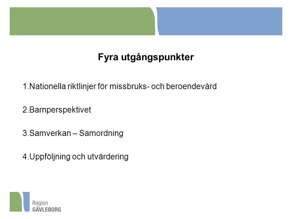 Fyra utgångspunkter Nationella riktlinjer för missbruks- och beroendevård. Barnperspektivet. Samverkan – Samordning.