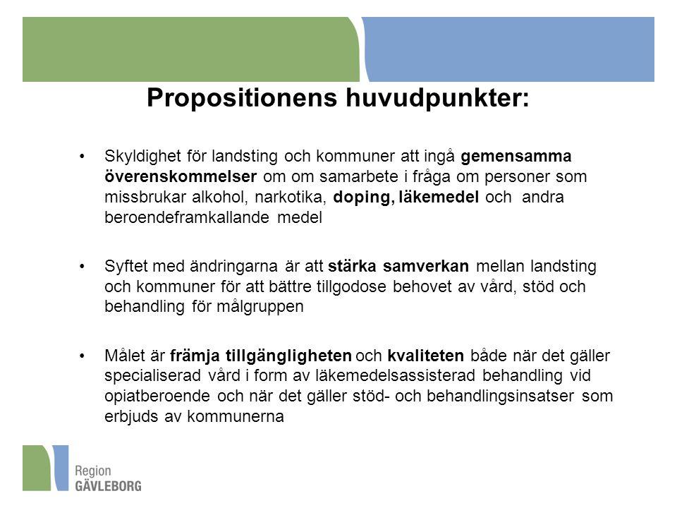 Propositionens huvudpunkter: