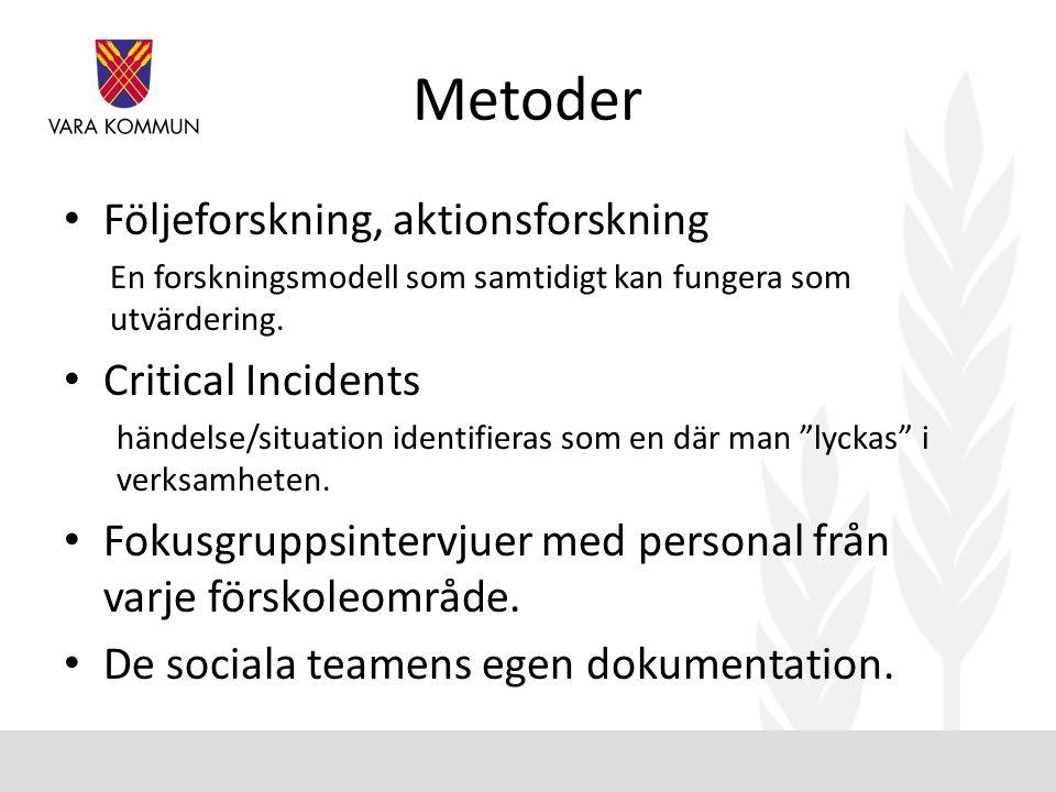 Metoder Följeforskning, aktionsforskning Critical Incidents