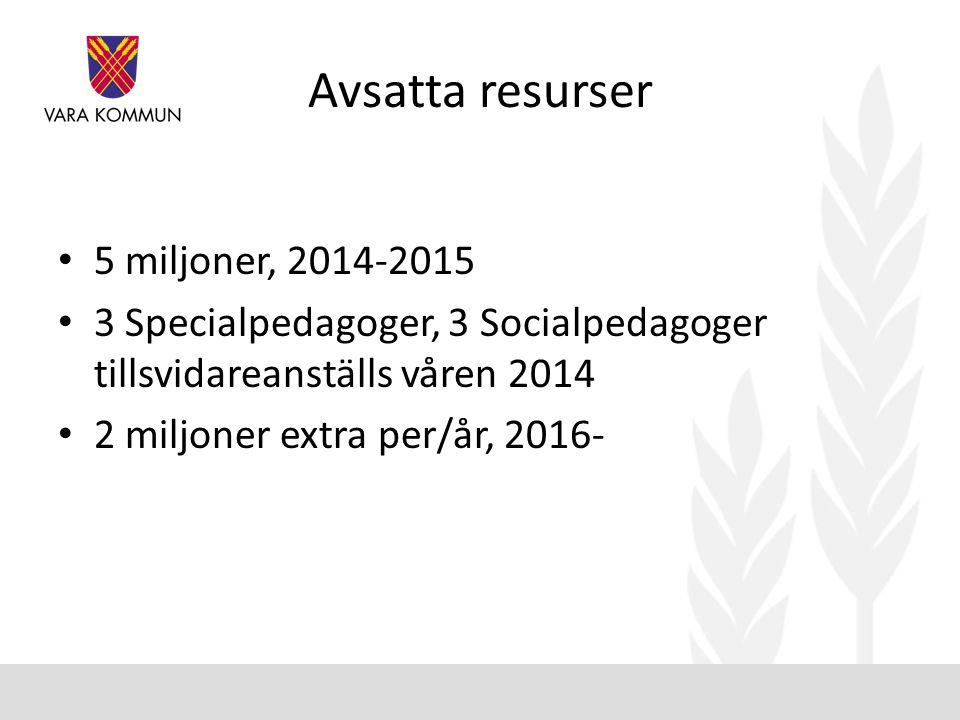Avsatta resurser 5 miljoner, 2014-2015
