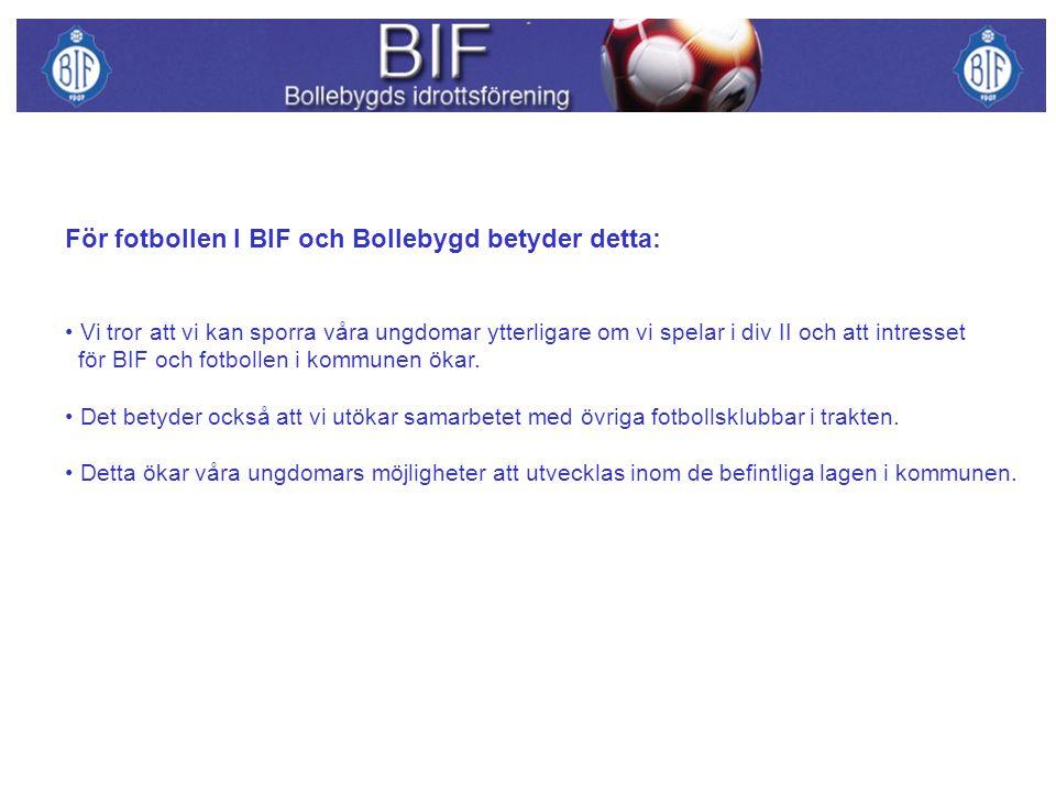 För fotbollen I BIF och Bollebygd betyder detta:
