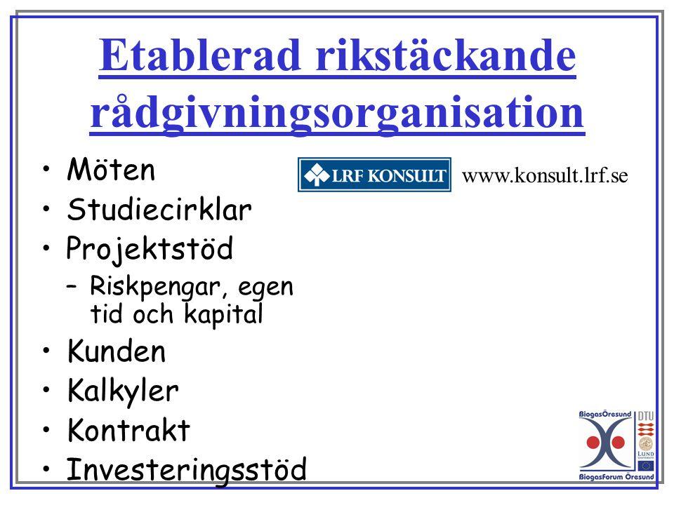 Etablerad rikstäckande rådgivningsorganisation