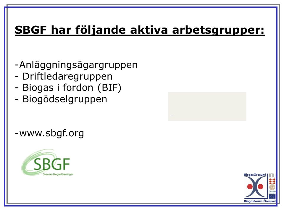 SBGF har följande aktiva arbetsgrupper: