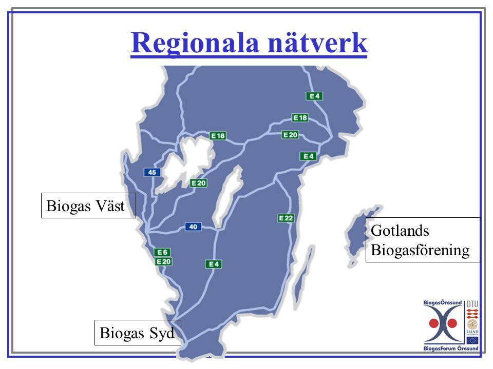 Regionala nätverk Biogas Väst Gotlands Biogasförening Biogas Syd