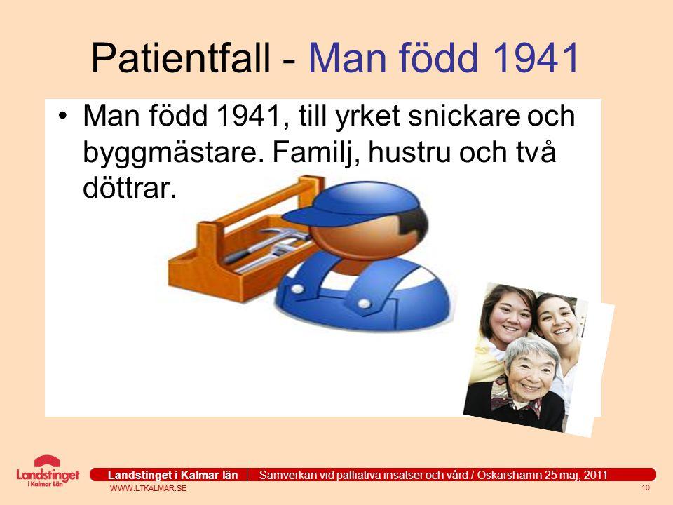 Patientfall - Man född 1941 Man född 1941, till yrket snickare och byggmästare.