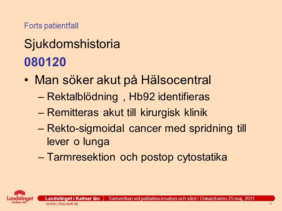Man söker akut på Hälsocentral