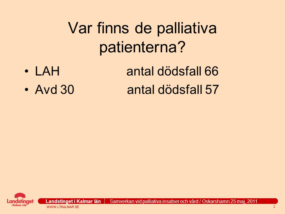 Var finns de palliativa patienterna