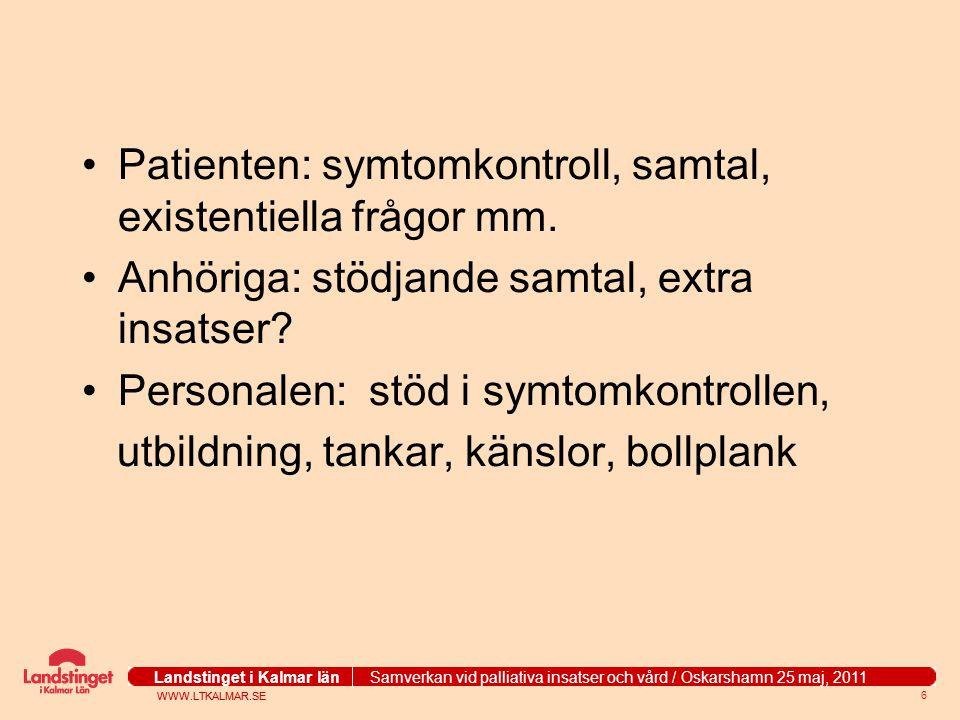 Patienten: symtomkontroll, samtal, existentiella frågor mm.