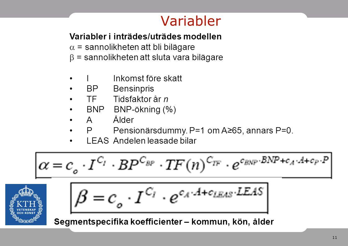 Variabler Variabler i inträdes/uträdes modellen