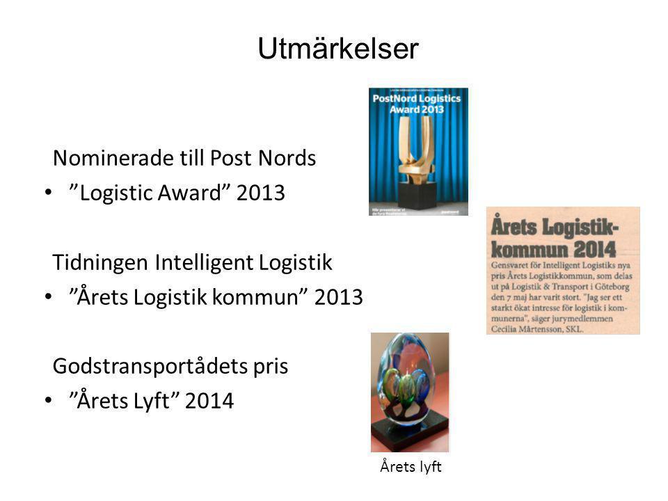 Utmärkelser Nominerade till Post Nords Logistic Award 2013
