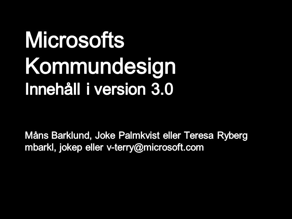 Microsofts Kommundesign Innehåll i version 3