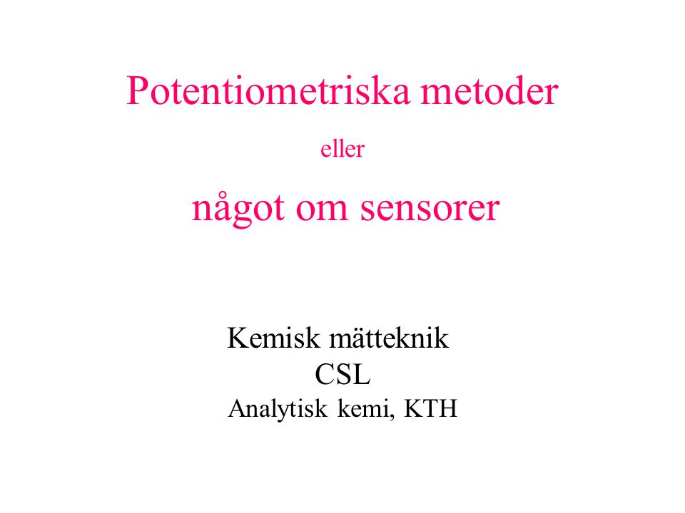 Potentiometriska metoder