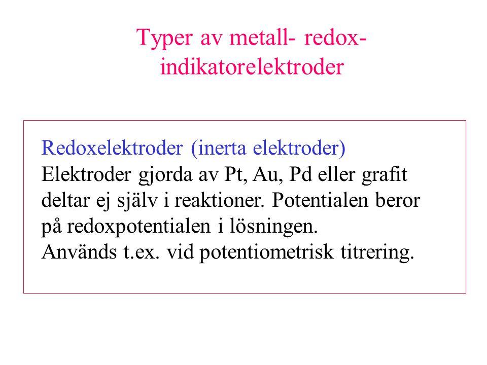 Typer av metall- redox-indikatorelektroder