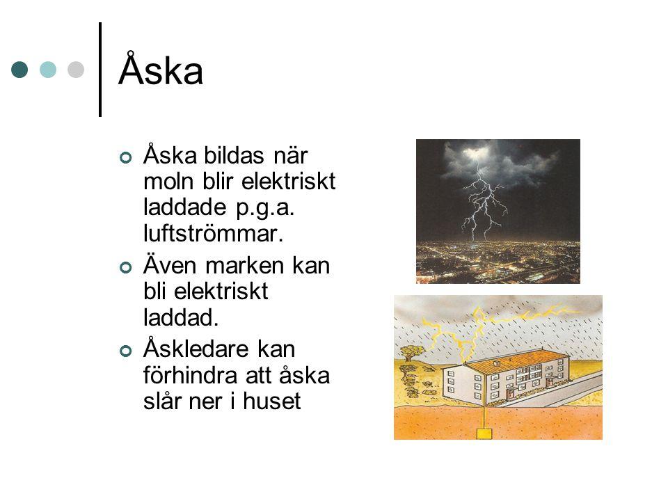 Åska Åska bildas när moln blir elektriskt laddade p.g.a. luftströmmar.