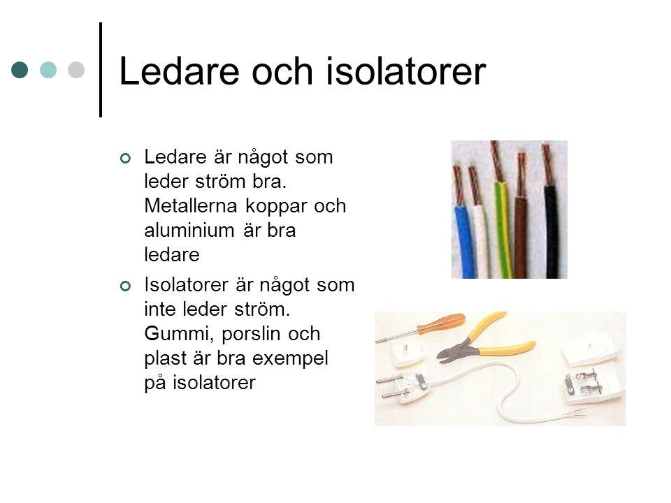 Ledare och isolatorer Ledare är något som leder ström bra. Metallerna koppar och aluminium är bra ledare.
