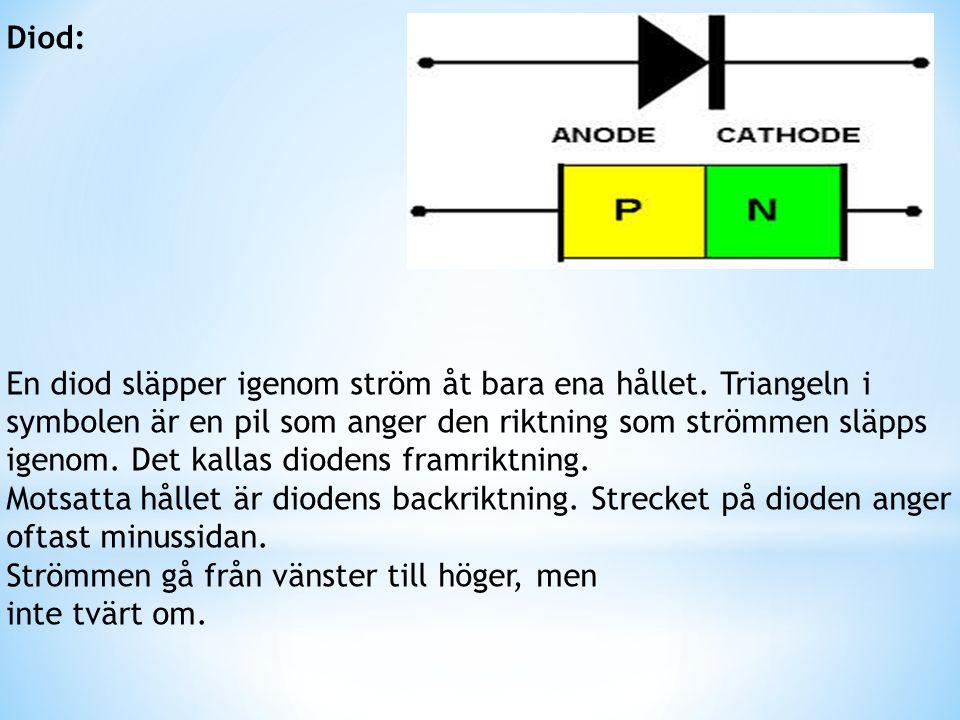 Diod: En diod släpper igenom ström åt bara ena hållet. Triangeln i. symbolen är en pil som anger den riktning som strömmen släpps.