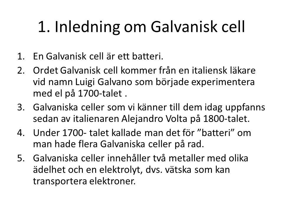 1. Inledning om Galvanisk cell