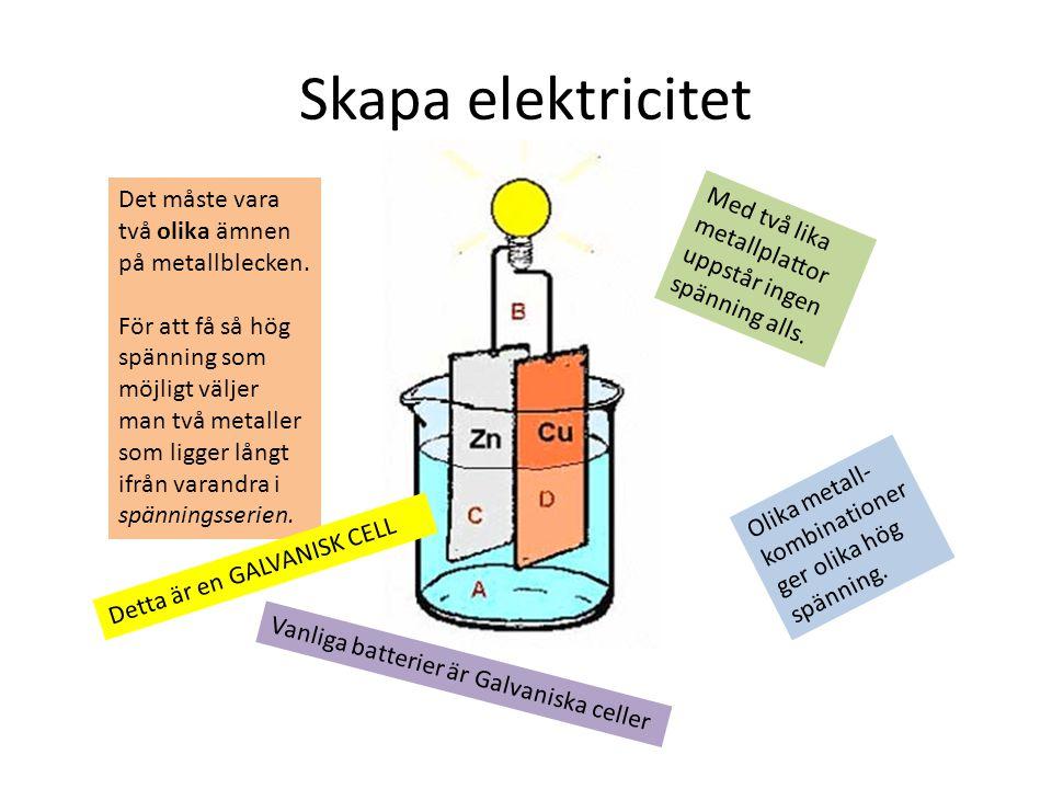 Skapa elektricitet Det måste vara två olika ämnen på metallblecken.