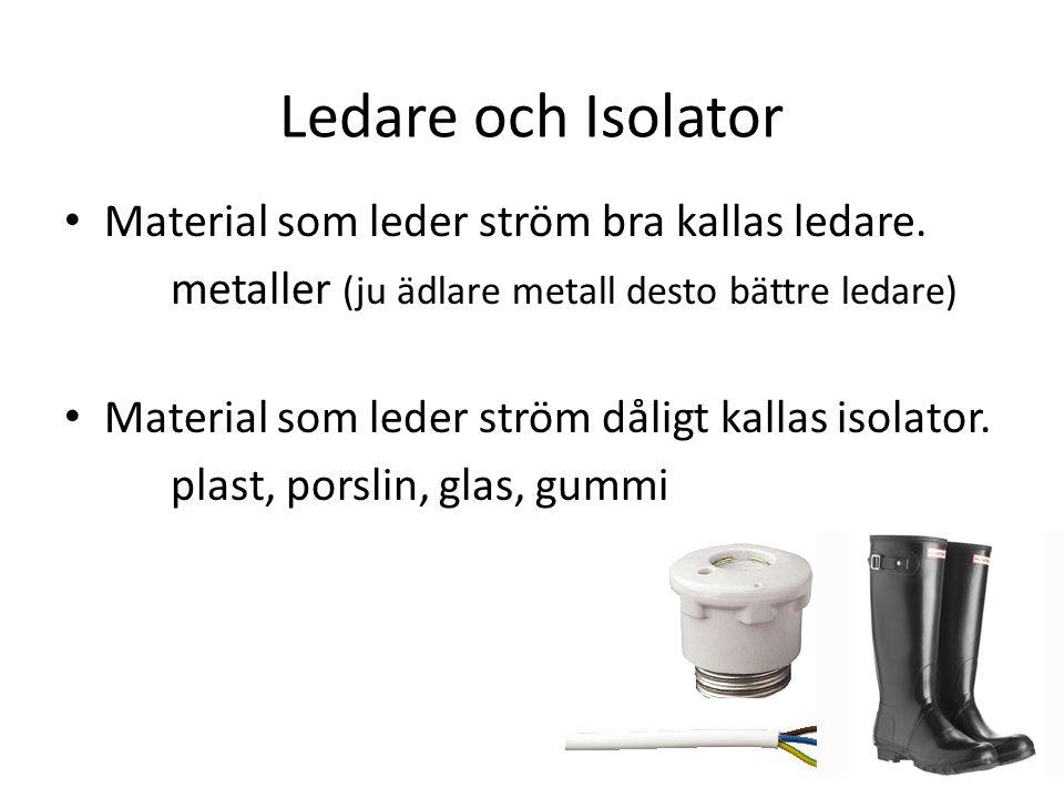 Ledare och Isolator Material som leder ström bra kallas ledare.